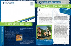 Friends First Newsletter Template Front and Back