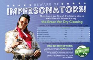 """The Green Van """"Elvis"""" Postcard Front"""