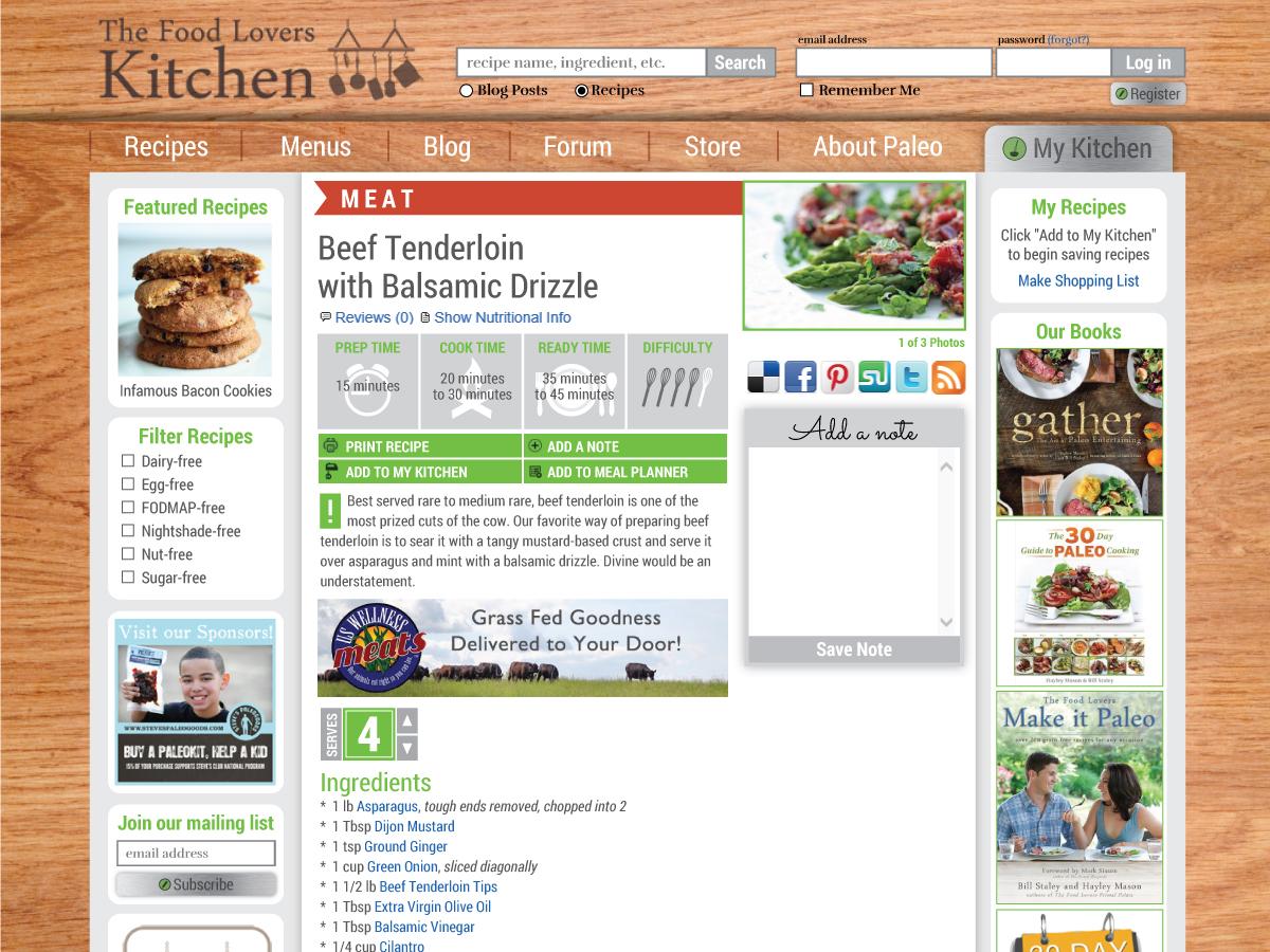 Food Loveru0027s Kitchen Web Design